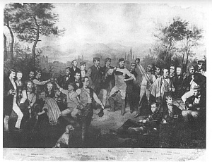 Couleurhund der Landsmannschaft 1862 auf einem Mensurtag